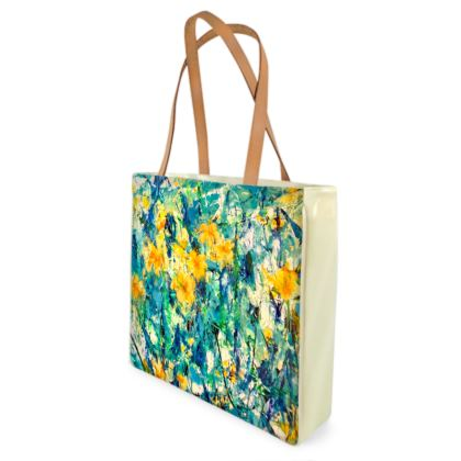 Yellow Flowers Shopper /Beach Bag by Alison Gargett - Design One Side