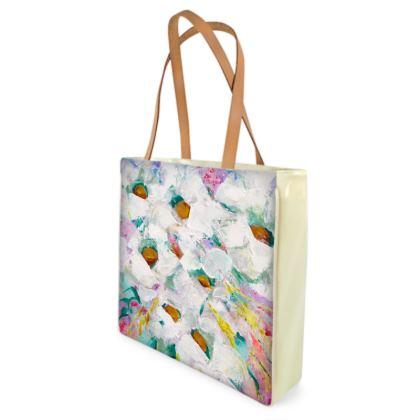 Cluster of White Flowers Shopper/Beach Bag by Alison Gargett - Design One Side