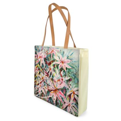 Unique Pink Clematis Shoppe/Beach Bag by Alison Gargett - Design One Side