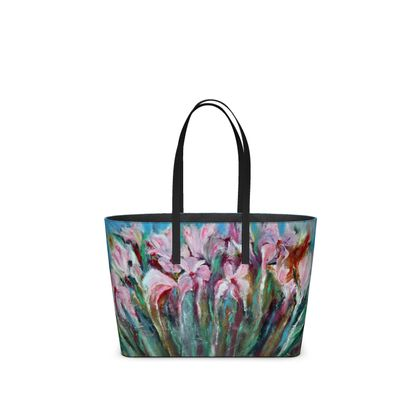Pink Irises Leather Tote by Alison Gargett Artist and Designer