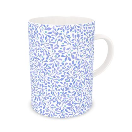 Watercolor blue and white leaves Mug