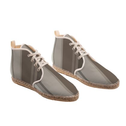 Grey color with stiper  unisex Hi Top Espadrilles