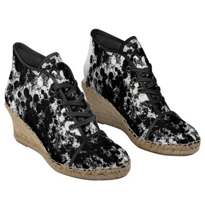 Black and White Ladies Wedge Espadrilles
