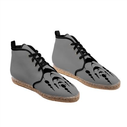 Gray Unisex Hi Top Espadrilles with secret geometry pattern