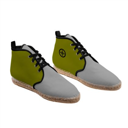 Grey and Olive green Unisex Hi Top Espadrilles with secret geometry pattern.
