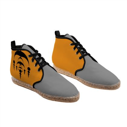 Grey and Orange color Unisex Hi Top Espadrilles with secret geometry pattern.