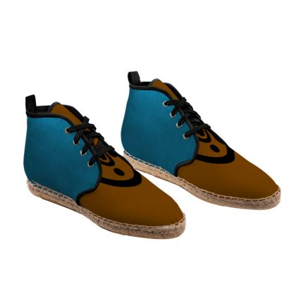 Brown and Blue Unisex Hi Top Espadrilles with secret geometry pattern.