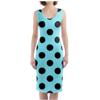 Polka Dots - Black and Arctic Blue - Bodycon Dress