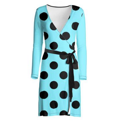 Polka Dots - Black and Arctic Blue - Wrap Dress
