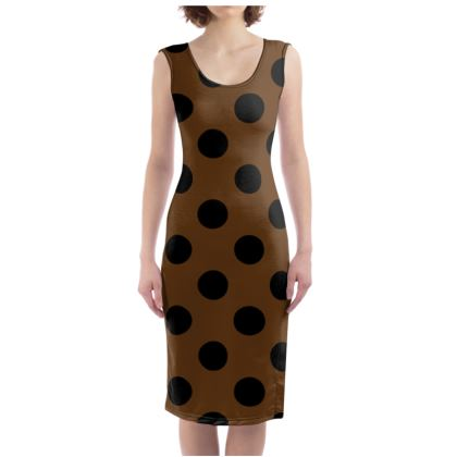 Polka Dots - Black and Caramel Brown - Bodycon Dress