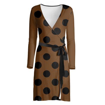 Polka Dots - Black and Caramel Brown - Wrap Dress