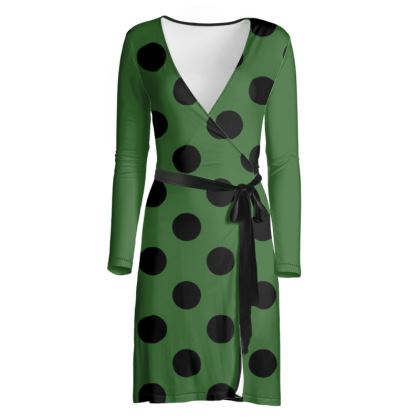 Polka Dots - Black and Basil Green - Wrap Dress
