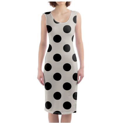Polka Dots - Black and Abalone Grey - Bodycon Dress