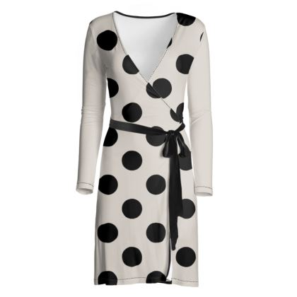 Polka Dots - Black and Abalone Grey - Wrap Dress