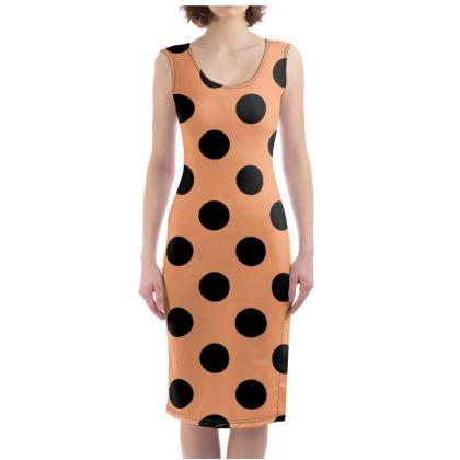 Polka Dots - Cantaloupe Orange - Bodycon Dress