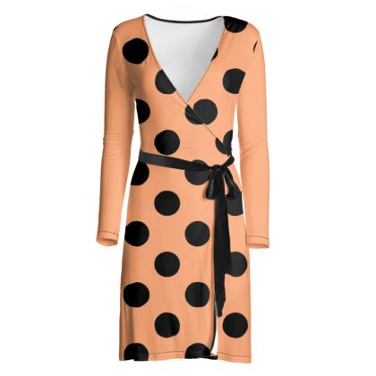 Polka Dots - Cantaloupe Orange - Wrap Dress