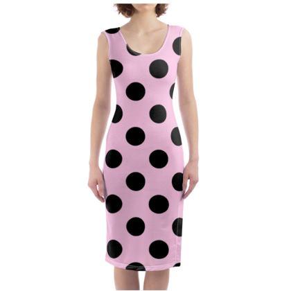 Polka Dots - Black and Blush Pink - Bodycon Dress