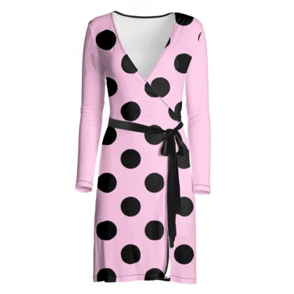 Polka Dots - Black and Blush Pink - Wrap Dress