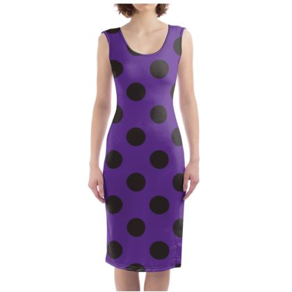 Polka Dots - Black and Imperial Purple - Bodycon Dress