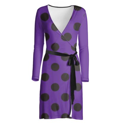 Polka Dots - Black and Imperial Purple - Wrap Dress