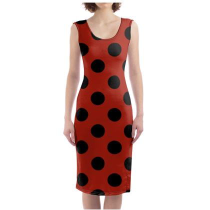 Polka Dots - Black and Apple Red - Bodycon Dress