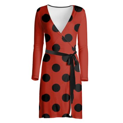 Polka Dots - Black and Apple Red - Wrap Dress