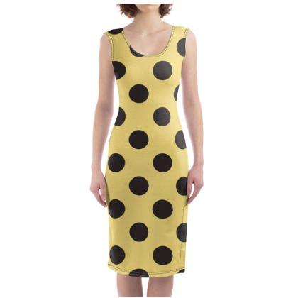 Polka Dots - Black and Mellow Yellow - Bodycon Dress