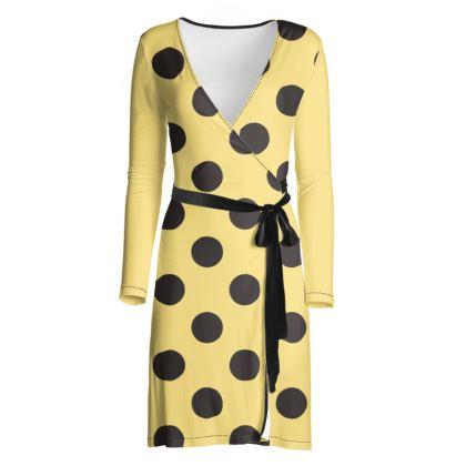 Polka Dots - Black and Mellow Yellow - Wrap Dress