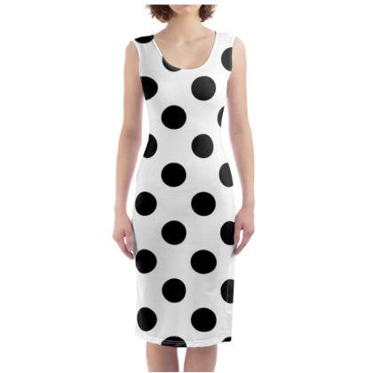 Polka Dots - Black and White - Bodycon Dress