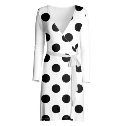 Polka Dots - Black and White - Wrap Dress