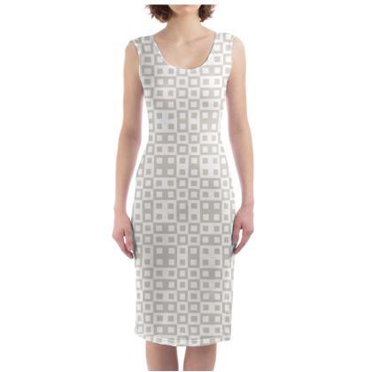 Retro Blocks - White and Abalone Grey - Bodycon Dress