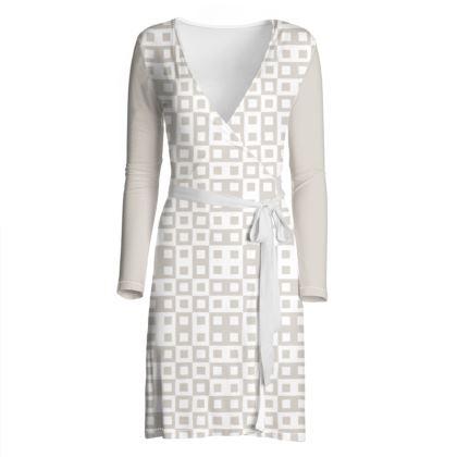 Retro Blocks - White and Abalone Grey - Wrap Dress