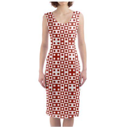 Retro Blocks - White and Apple Red - Bodycon Dress