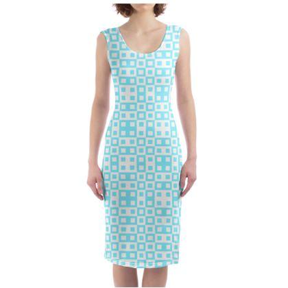 Retro Blocks - White and Arctic Blue - Bodycon Dress