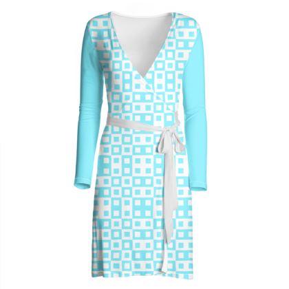Retro Blocks - White and Arctic Blue - Wrap Dress
