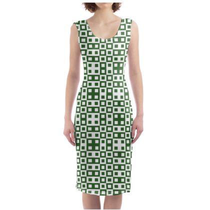Retro Blocks - White and Basil Green - Bodycon Dress