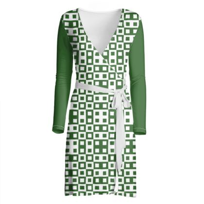 Retro Blocks - White and Basil Green - Wrap Dress