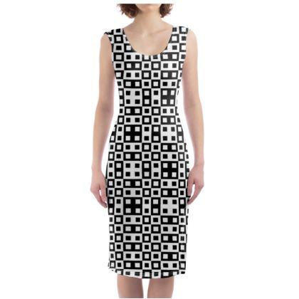 Retro Blocks -  White and Black - Bodycon Dress