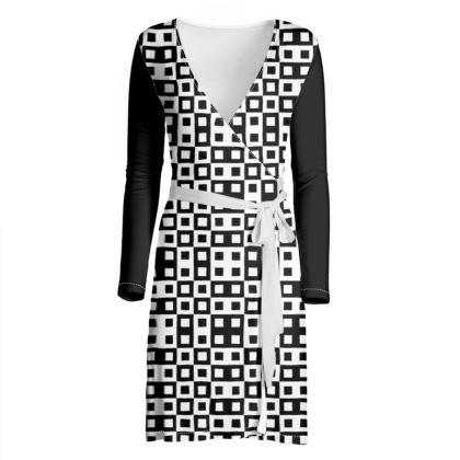 Retro Blocks - White and Black - Wrap Dress