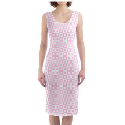 Retro Blocks - White and Blush Pink - Bodycon Dress