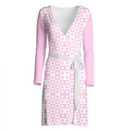 Retro Blocks - White and Blush Pink - Wrap Dress