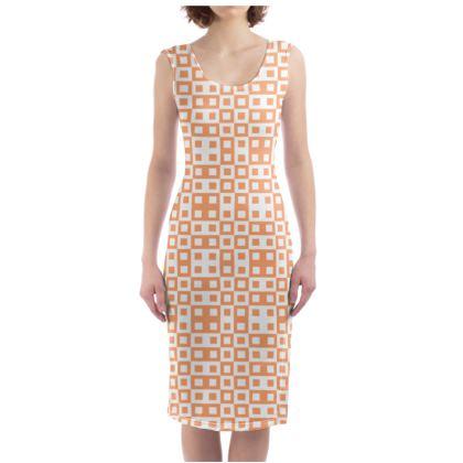 Retro Blocks - White and Cantaloupe Orange - Bodycon Dress