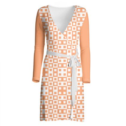 Retro Blocks - White and Cantaloupe Orange - Wrap Dress