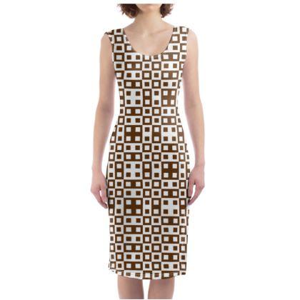 Retro Blocks - White and Caramel Brown - Bodycon Dress