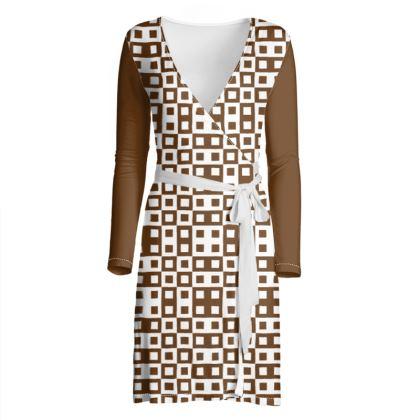 Retro Blocks - White and Caramel Brown - Wrap Dress