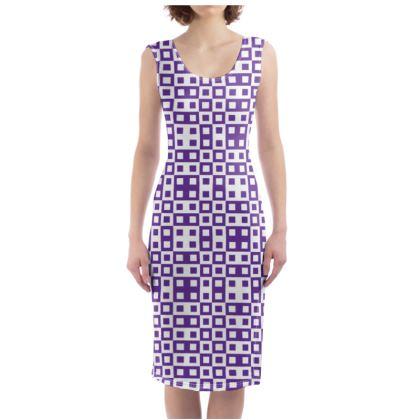 Retro Blocks - White and Imperial Purple - Bodycon Dress