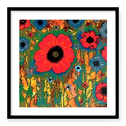 Black framed Art print title: poppy woods 2 Posterised