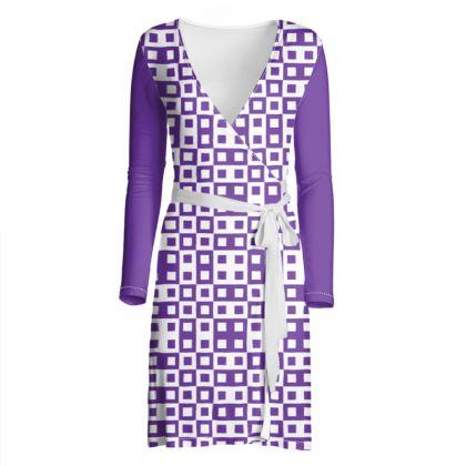 Retro Blocks - White and Imperial Purple - Wrap Dress