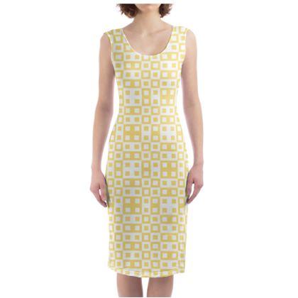 Retro Blocks - White and Mellow Yellow - Bodycon Dress