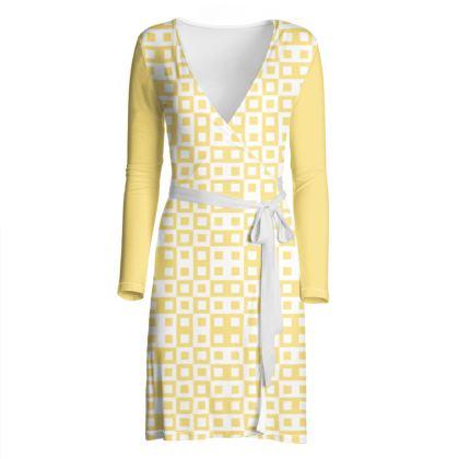 Retro Blocks - White and Mellow Yellow - Wrap Dress